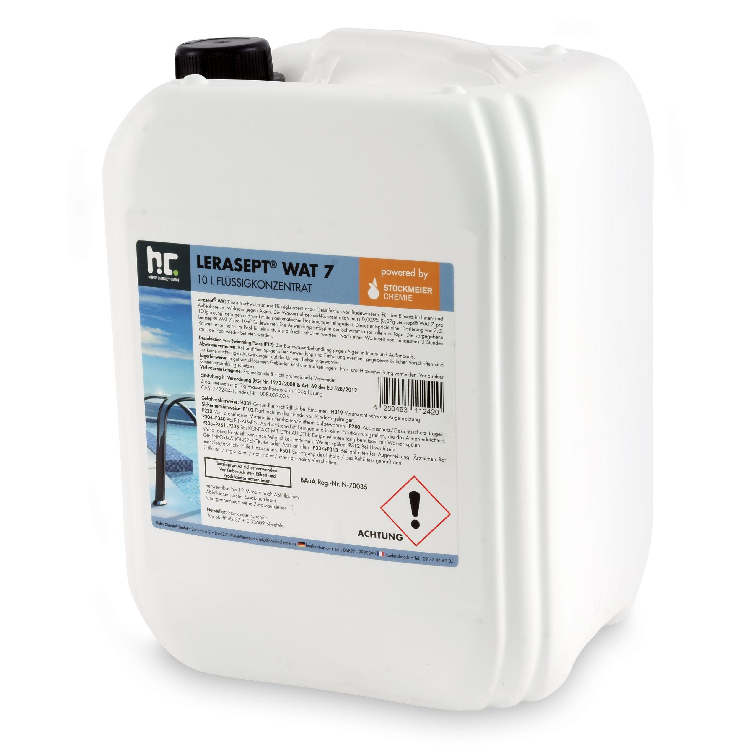 10 L Lerasept® Wat-7 Oxygène Actif Pour Piscine intérieur Peroxyde D Hydrogène Pour Piscine
