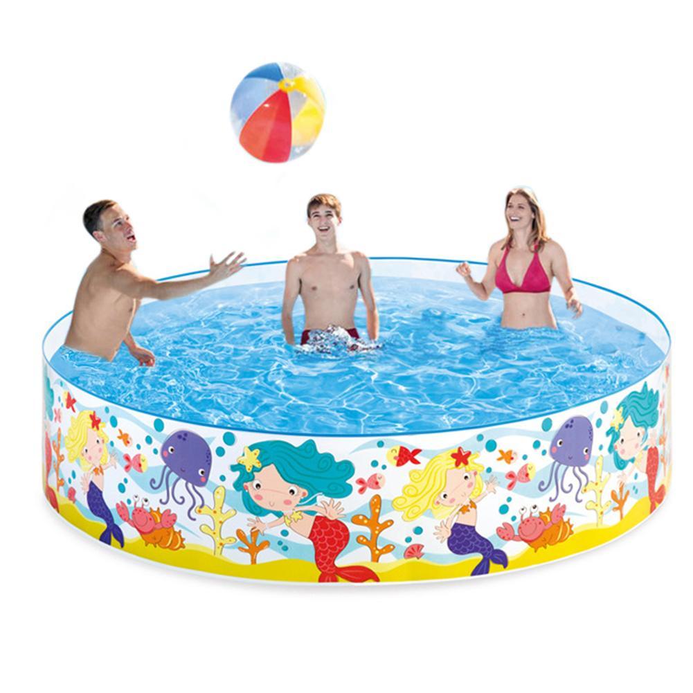 183*38 Cm Ücretsiz Şişme Branda Destek Yuvarlak Havuz Hiçbir Hava Pompası  Havuzu Bebek Sert Plastik Havuz Çocuk Banyo Yüzme Havuz destiné Bache Piscine Bestway