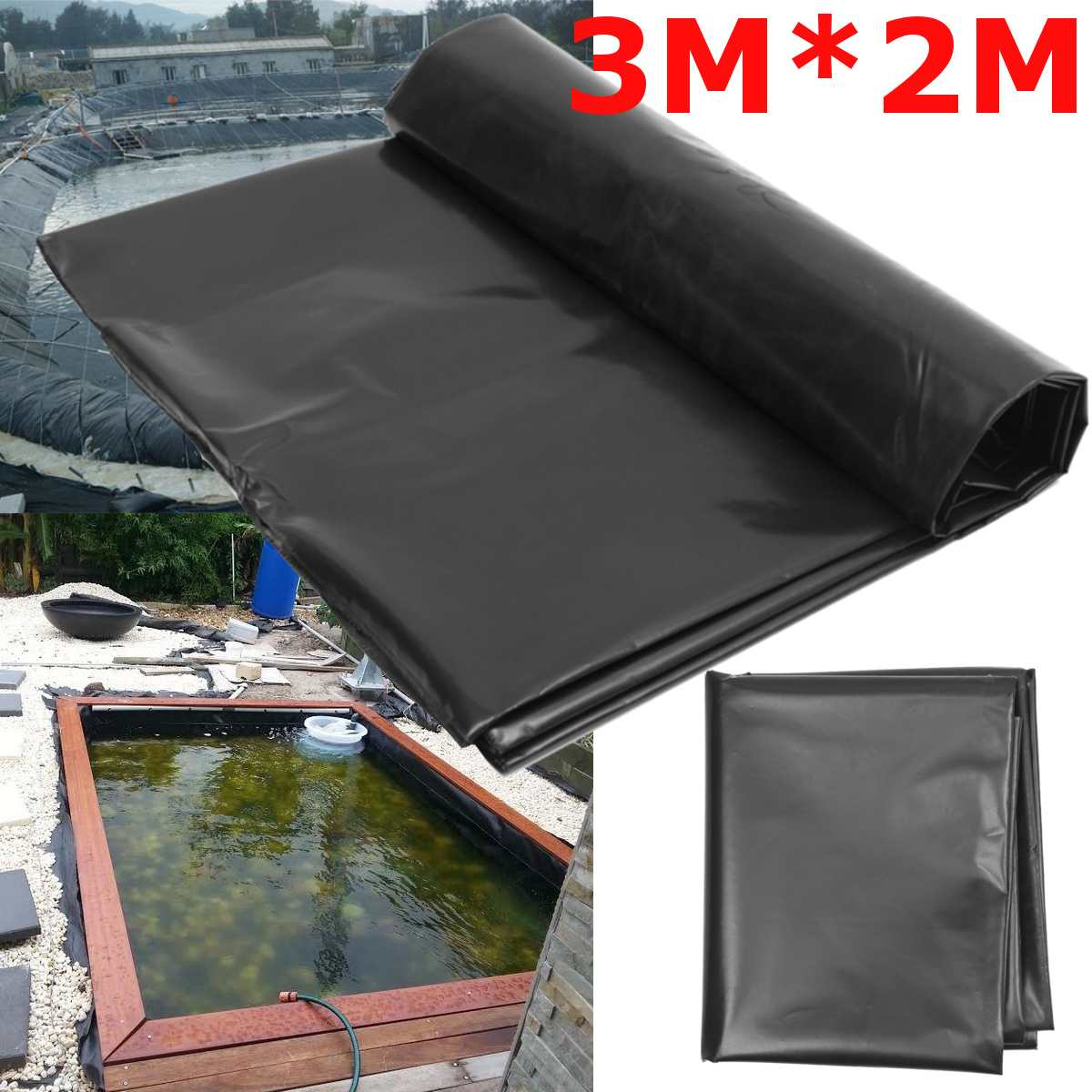 3X2M Black Fish Pond Liner Cloth Home Garden Pool Rerced Hdpe Heavy  Landscaping Pool Pond Waterproof Liner Cloth New tout Piscine Geomembrane