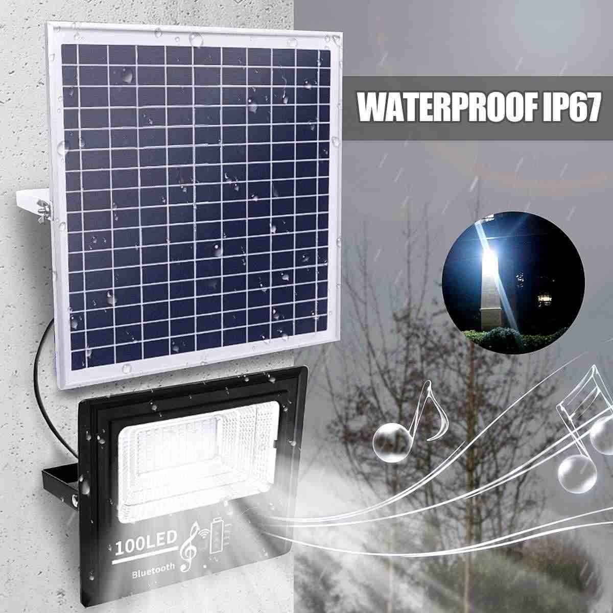 50/100/192/300 Güneş Enerjili Led Sokak Lambası Müzik ... dedans Zik Piscine