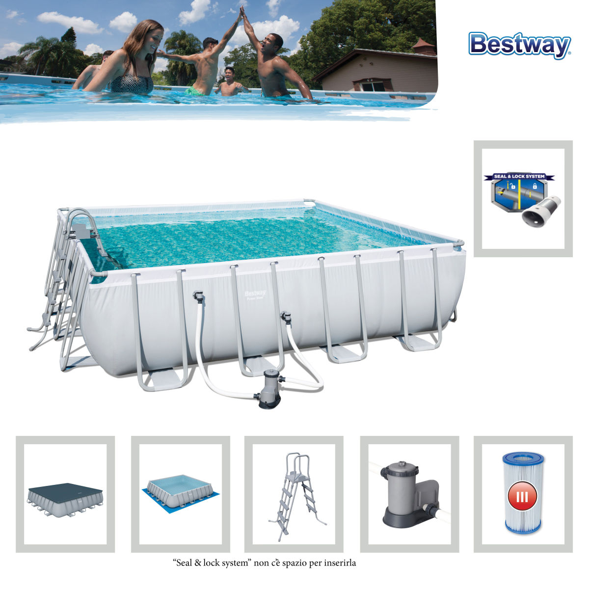56626 - 4.88M X 4.88M X 1.22M Kit Piscine Tubulaire Power ... pour Piscine Tubulaire Carrée