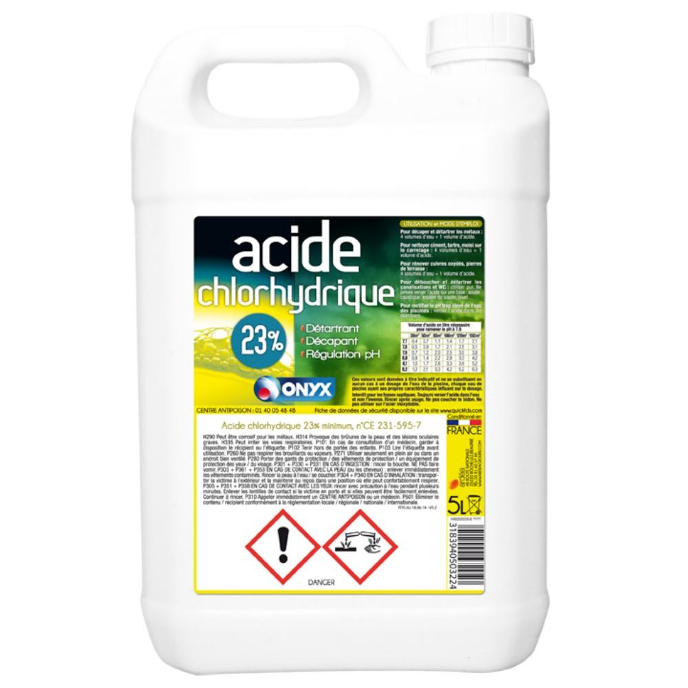 Acide Chlorhydrique 23% Onyx 5 Litres tout Acide Chlorhydrique Piscine