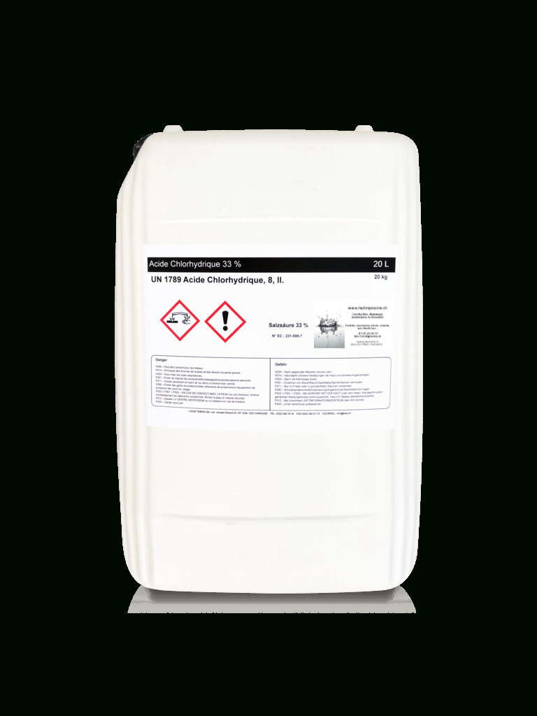 Acide Chlorhydrique 33% 20 L serapportantà Acide Chlorhydrique Piscine