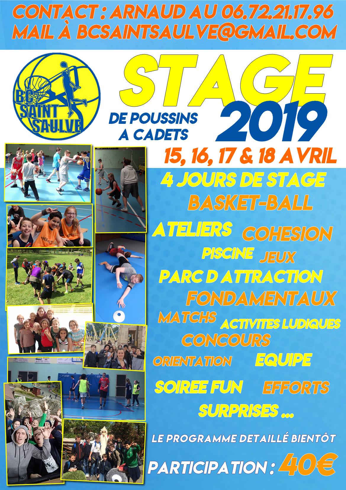 Agenda - Stage De Basket 2019 - Club Basket Bc Saint-Saulve ... pour Piscine St Saulve