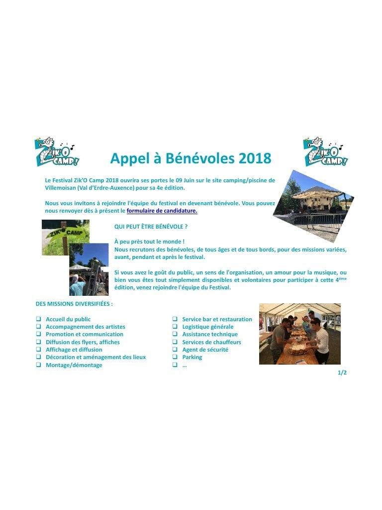 Appel À Bénévoles 2018 Zik'o Camp Par T.rolland - Fichier Pdf tout Zik Piscine