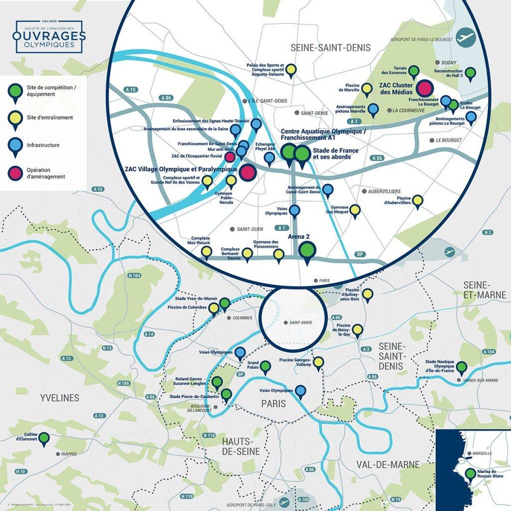 """Arch. Of The Games On Twitter: """"paris 2024; Map ... tout Piscine De Noisy Le Sec"""