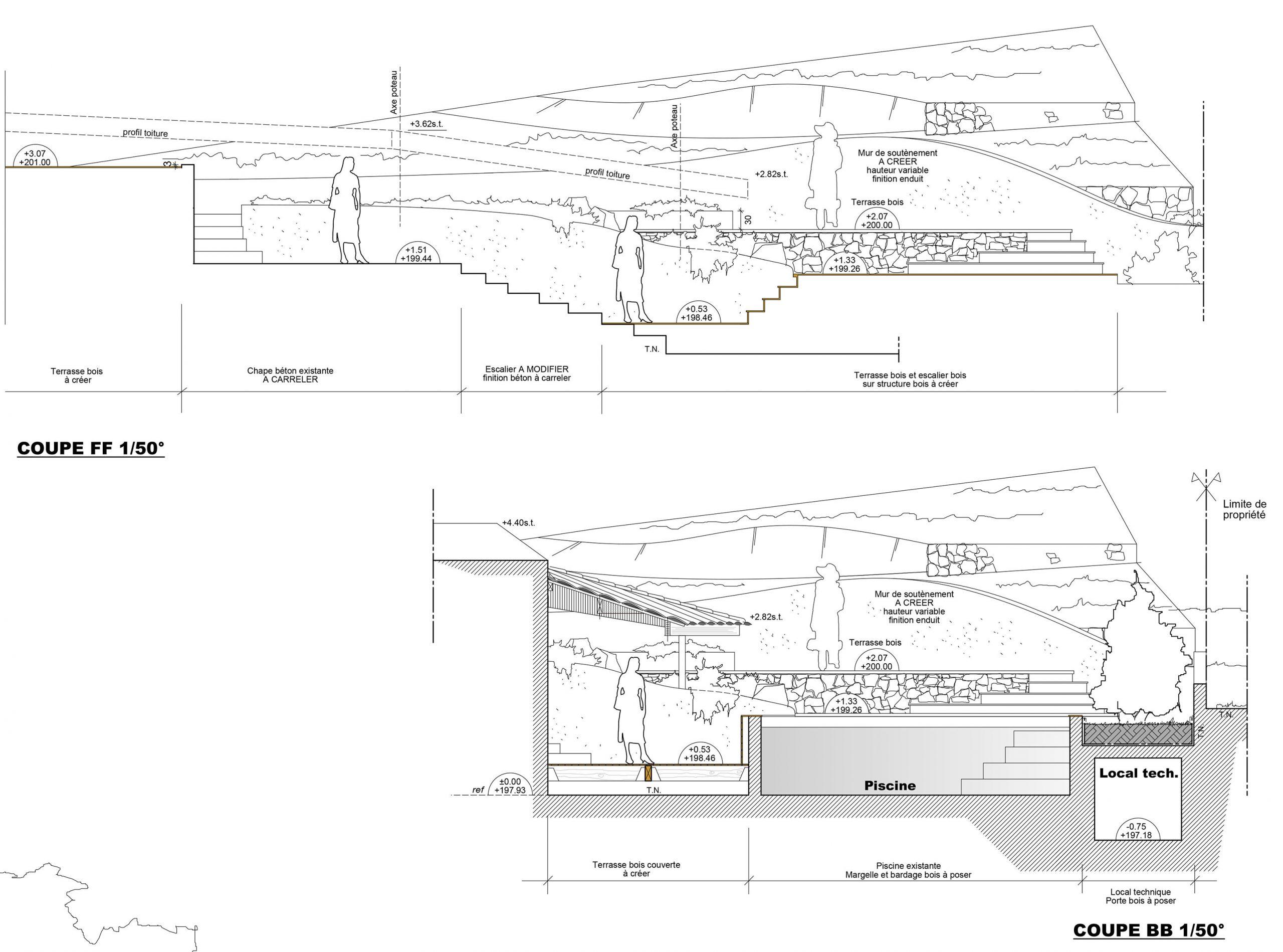 Architecte Plan De Cuques - Rénovation Extension D'une ... concernant Plan De Coupe Piscine