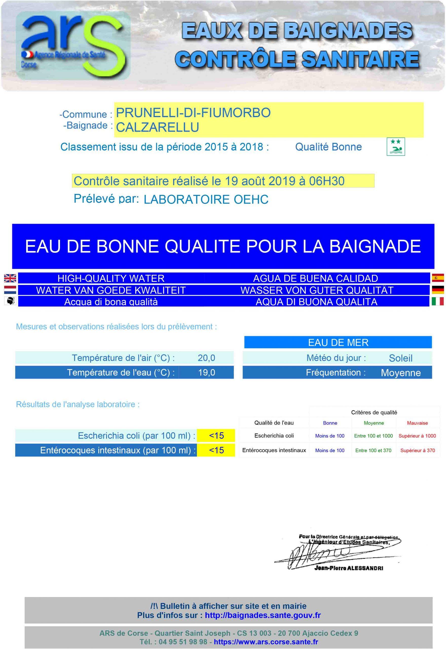 Ars: Analyses Des Eaux De Baignade Le 19 Août 2019: Eau De ... à Analyse Eau Piscine