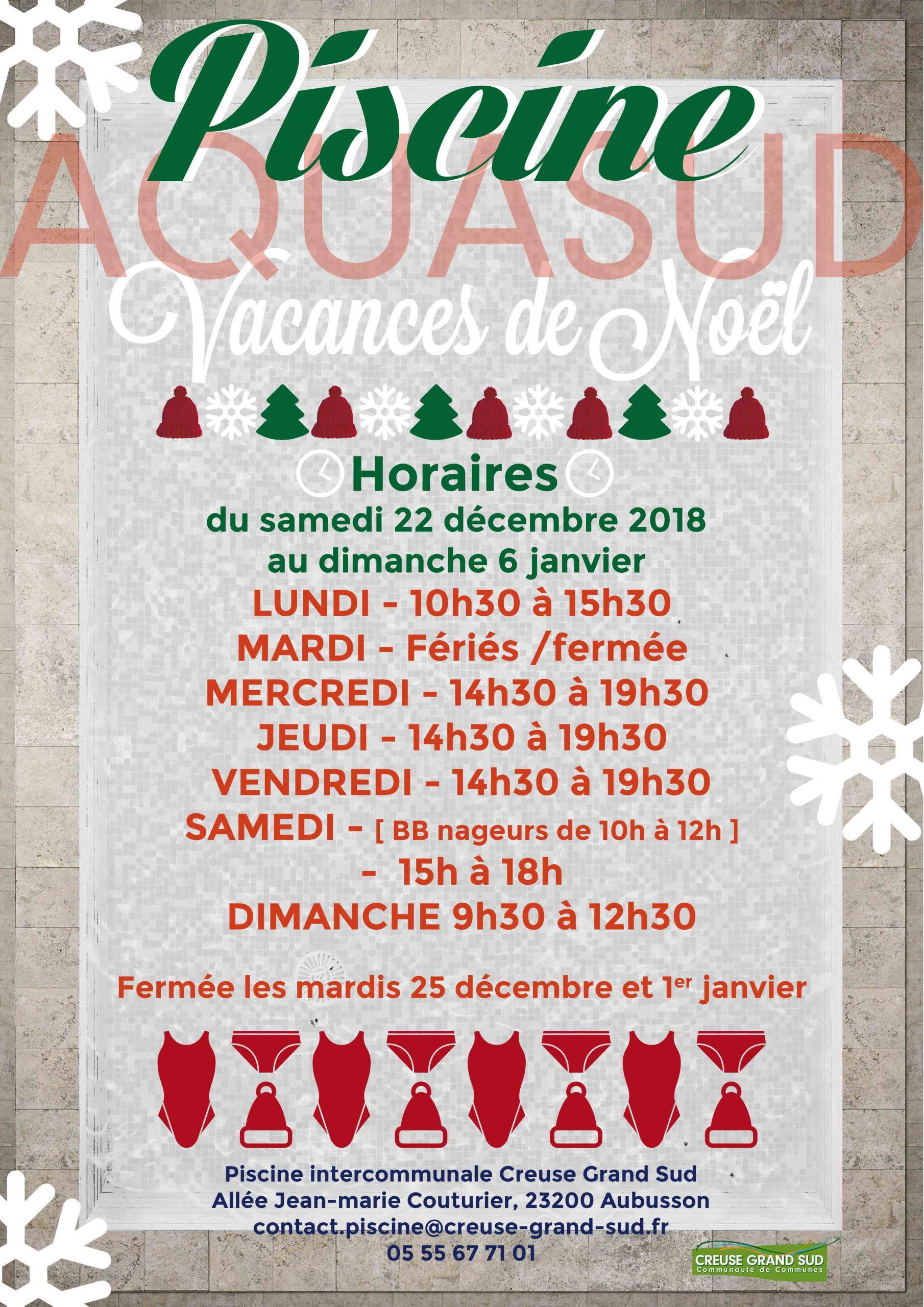 Aubusson.fr » Aquasud / Vacances De Noël concernant Piscine Aubusson