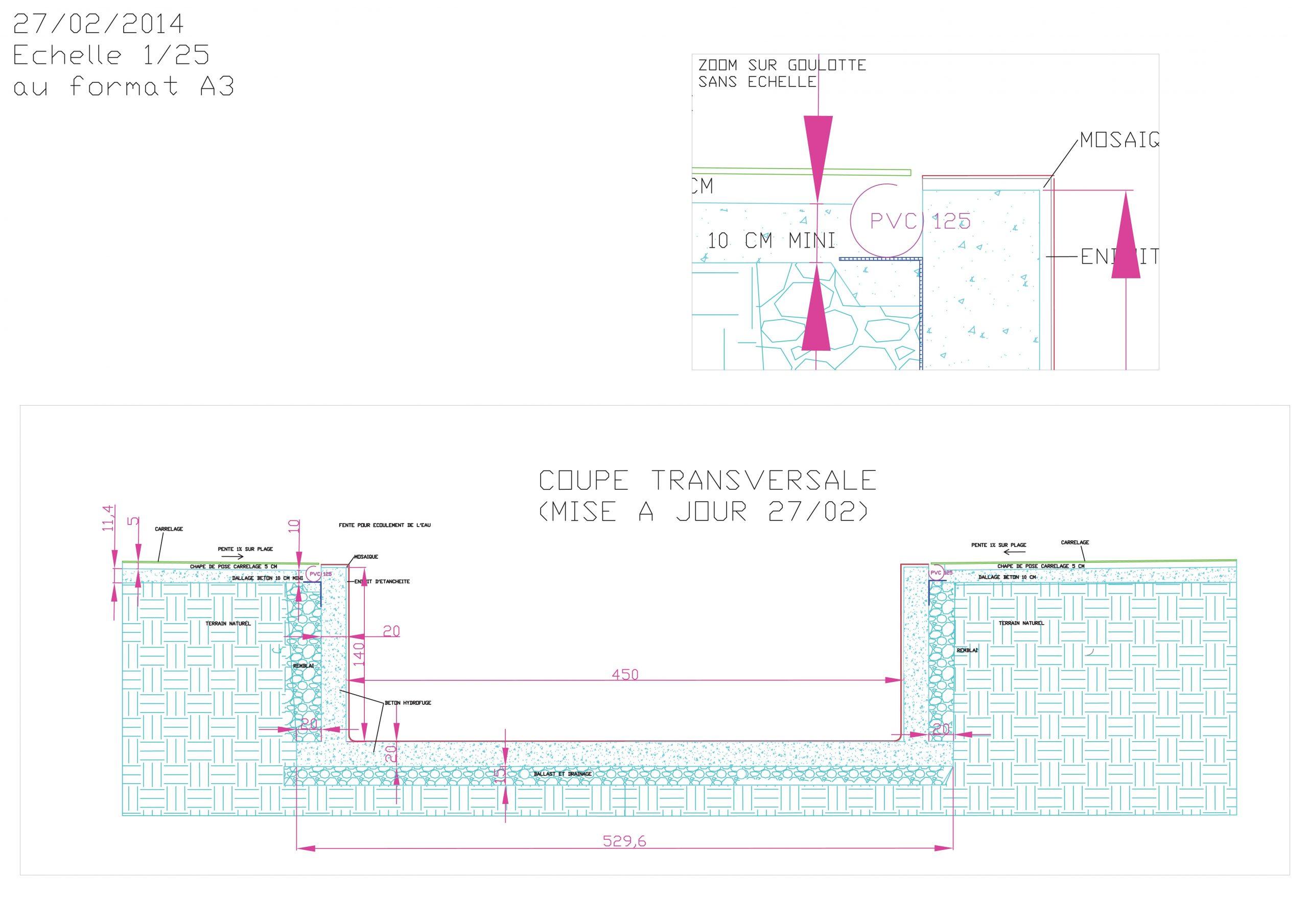 Autoconstruction Piscine Miroir 10 X 4.5 M | Piscines ... concernant Plan De Coupe Piscine