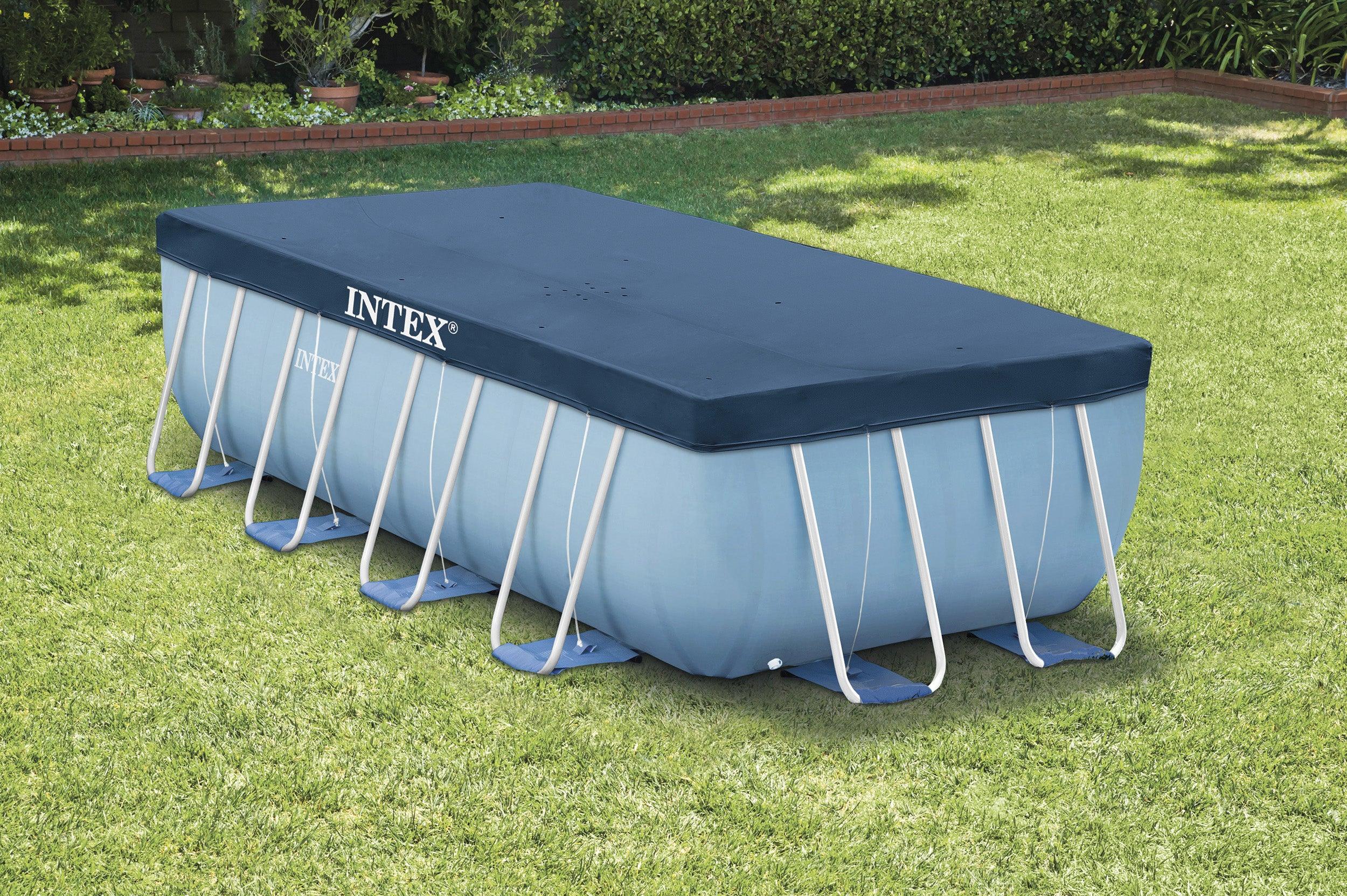 Bâche Hiver Intex De Protection Pour Piscine Rectangulaire 4X2 M, L390 X  L190 Cm destiné Bache Piscine Rectangulaire Leroy Merlin