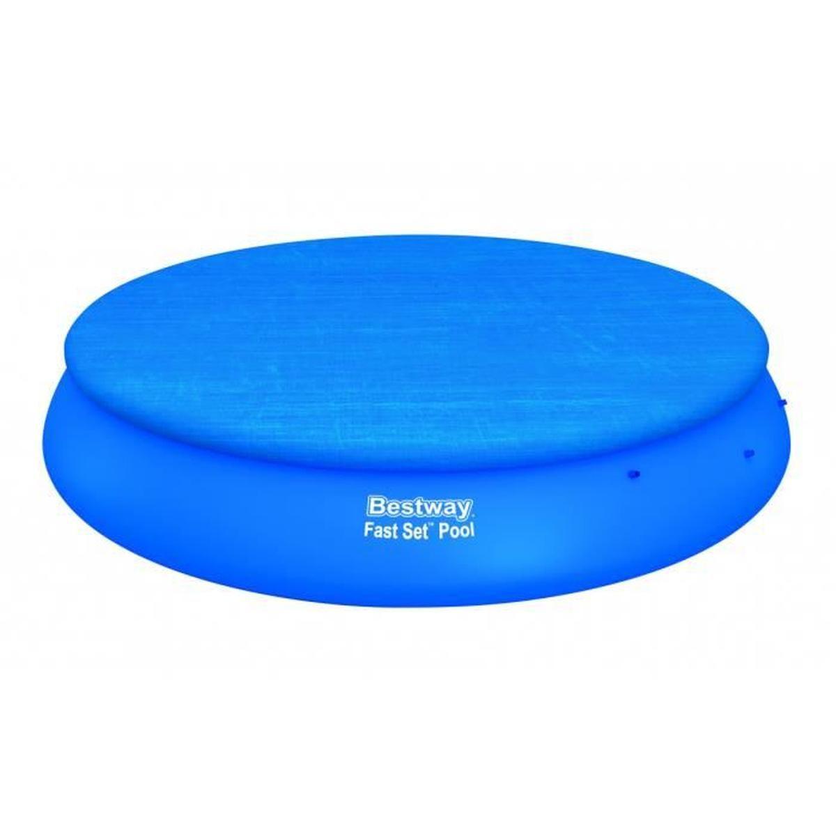 Bâche Piscine Ronde Bestway Fast Set Pool Cover Diam 457 Cm 4 Saisons Pvc  Ultra Résistant Bleu serapportantà Bache Piscine Tubulaire 3.66