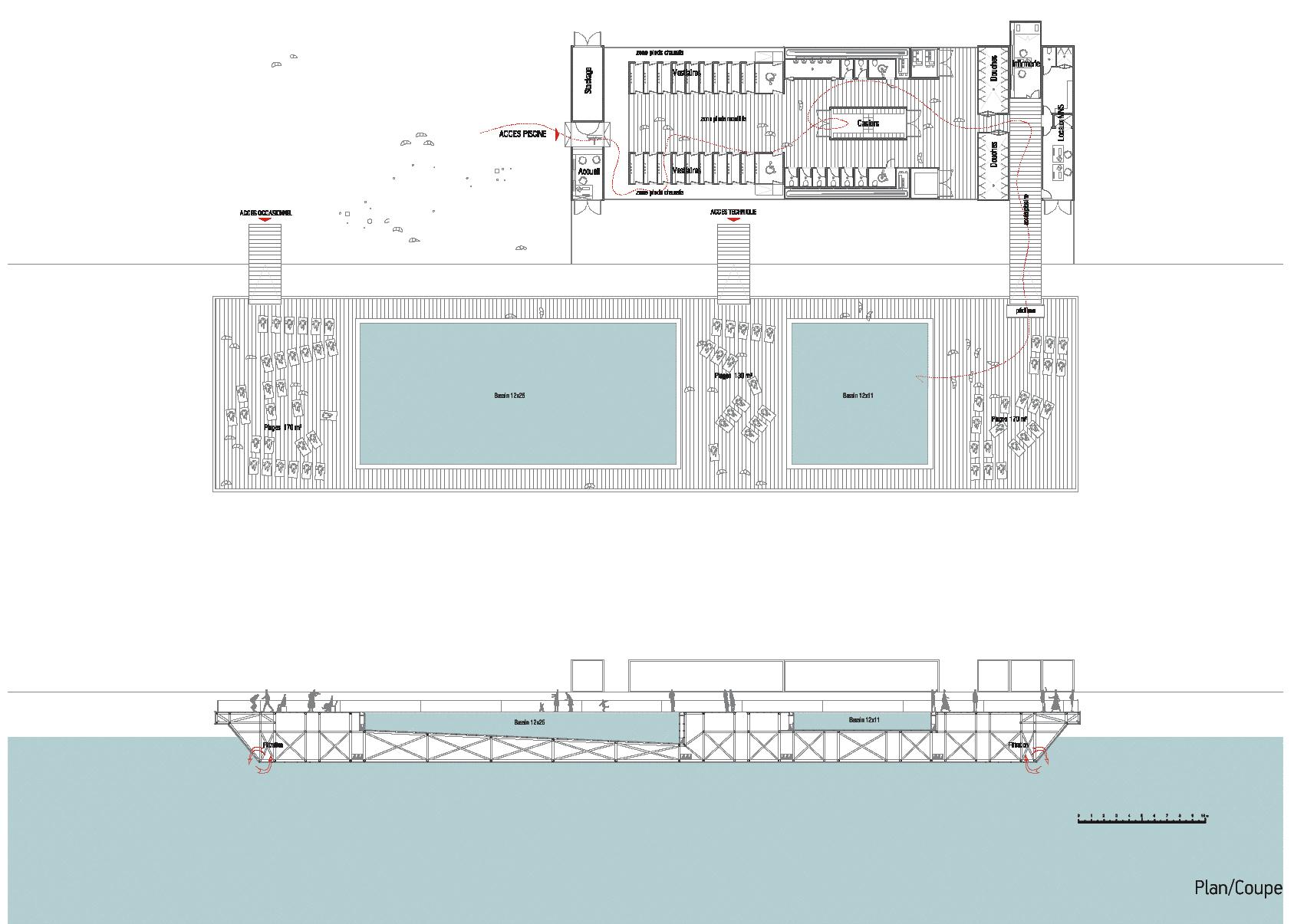 Baignade Autorisée | 2Pm A 2Pm A, Agence D'architecture À ... destiné Plan De Coupe Piscine