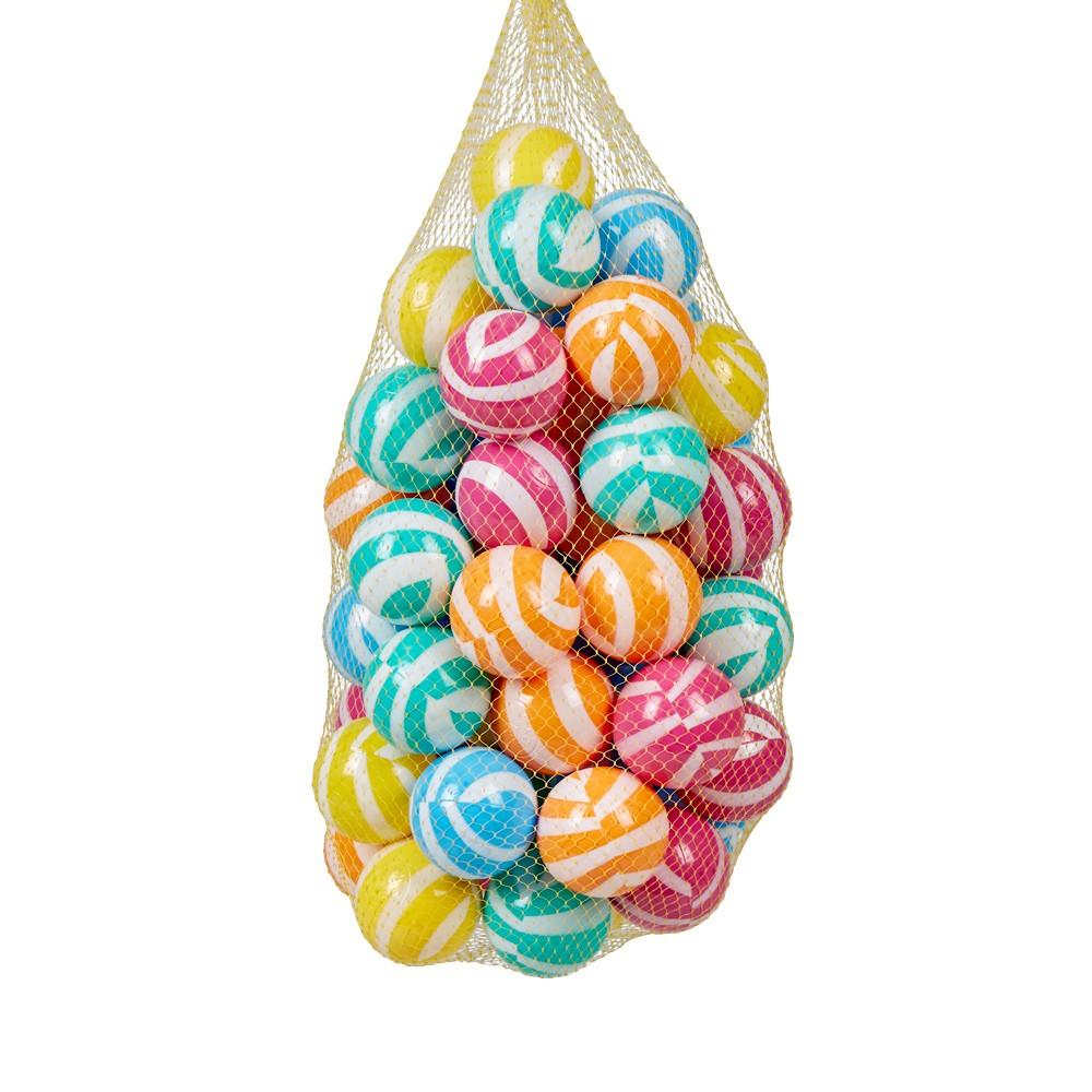 Balle Plastique Multicolore Rayé X 50 pour Piscine A Balle Gifi