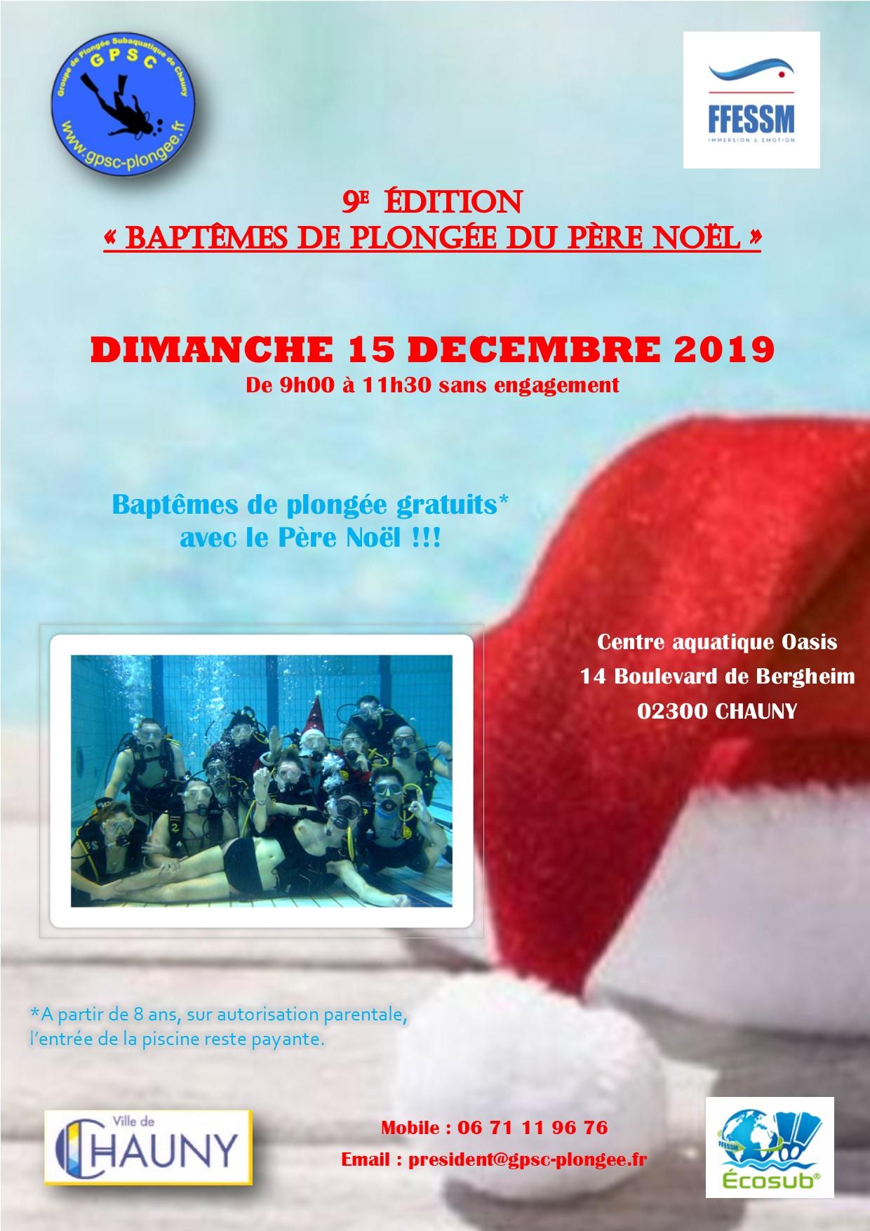 Baptêmes De Plongée Avec Le Père Noël - Chauny - (02300 ... serapportantà Piscine Chauny