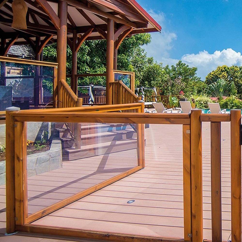 Barrière Piscine Bois & Plexiglas - Longueur 180 Cm - Visual pour Barriere Piscine Amovible