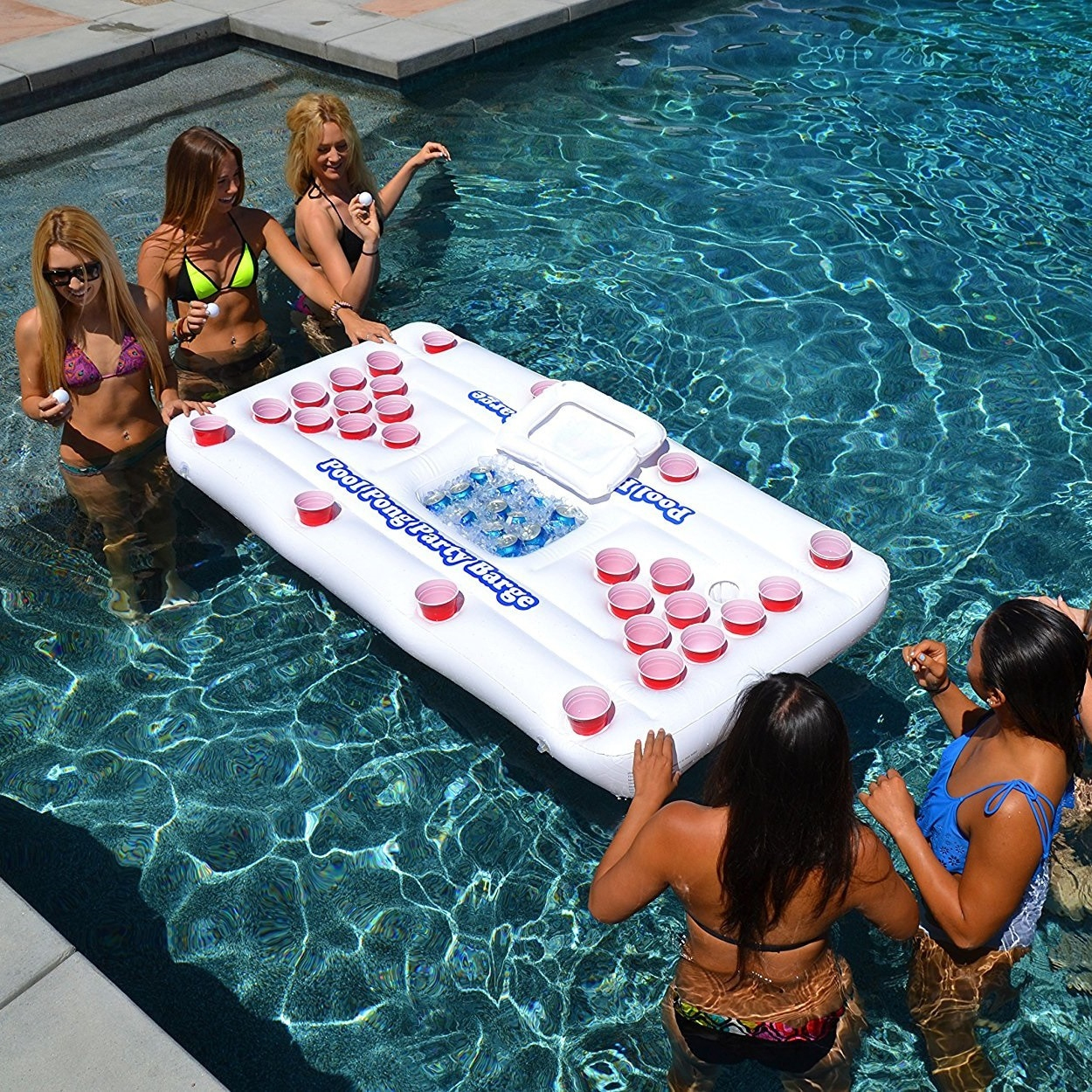 Beer Pong Pool Mat 28 Cup Hole Floating Row Inflatable Pool ... encequiconcerne Beer Pong Piscine
