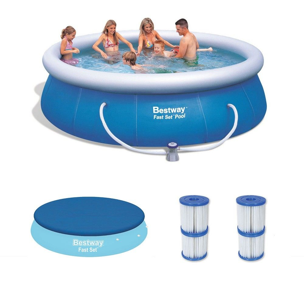 Bestway 12Ft X 36In Inflatable Pool With Cover & Type V/k ... serapportantà Filtre Piscine Bestway Type 2
