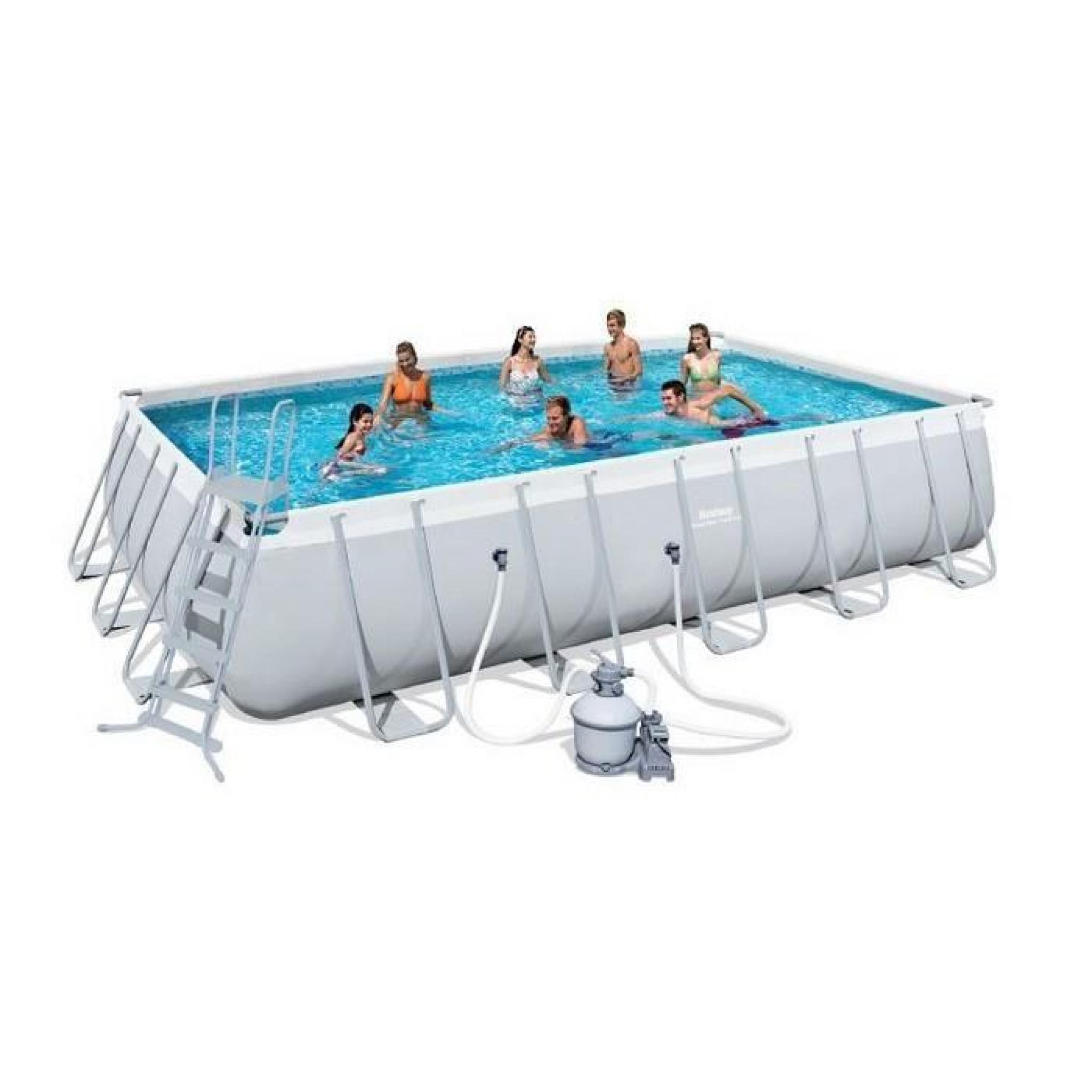 Bestway Piscine Tubulaire Rectangulaire 6.71X3.66X1.32 M Filtre À Sable destiné Piscine Tubulaire Carrée