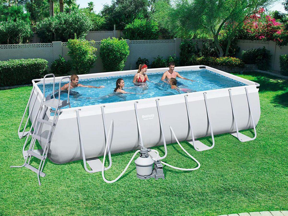"Bestway ""power Steel"" Tubular Pool 4,88X 2,44X ↕1,22M tout Piscine Tubulaire Carrée"