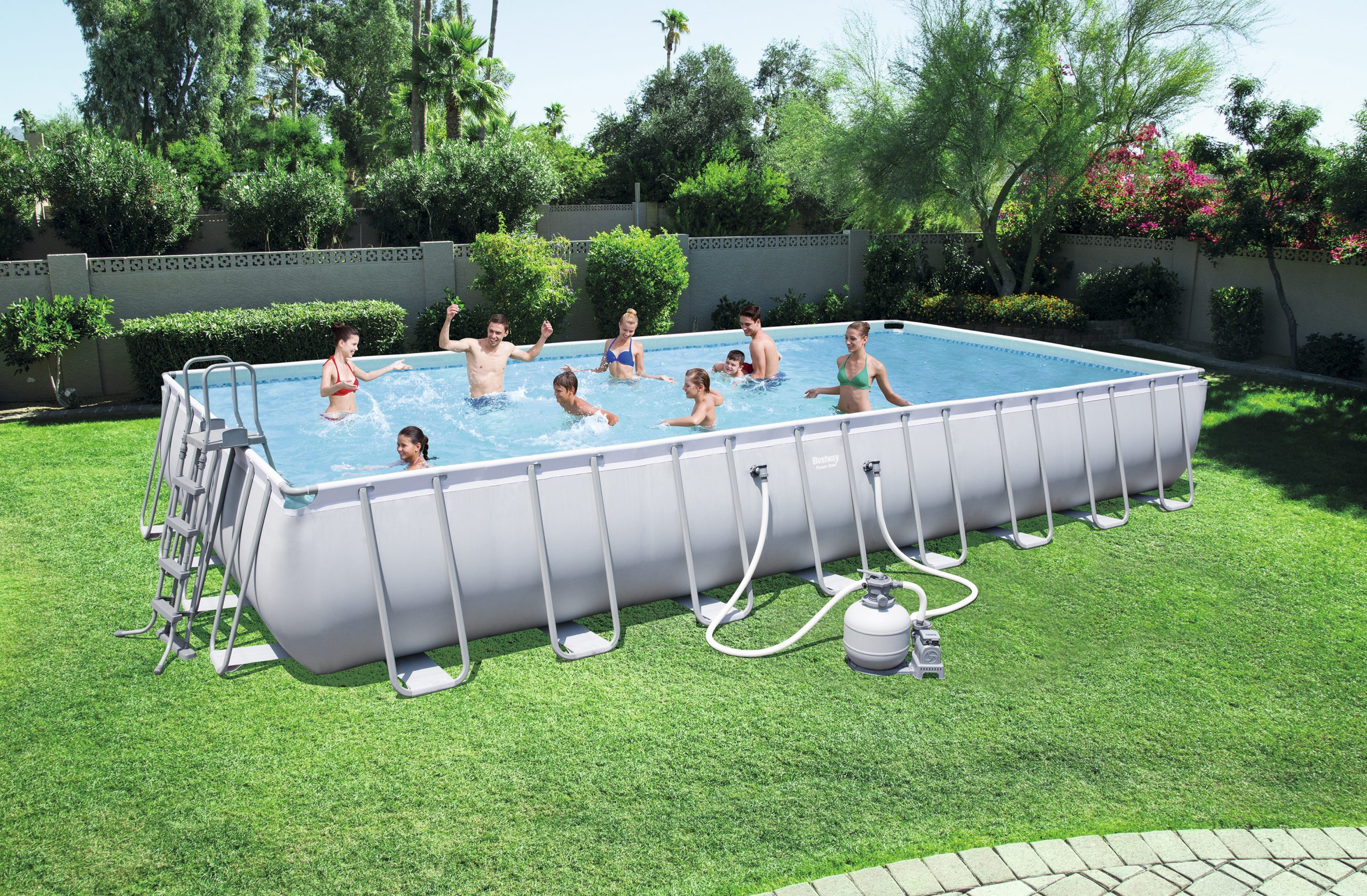 "Bestway ""power Steel"" Tubular Pool 9,56X 4,88X ↕1,32M encequiconcerne Piscine Hors Sol Tubulaire Rectangulaire"
