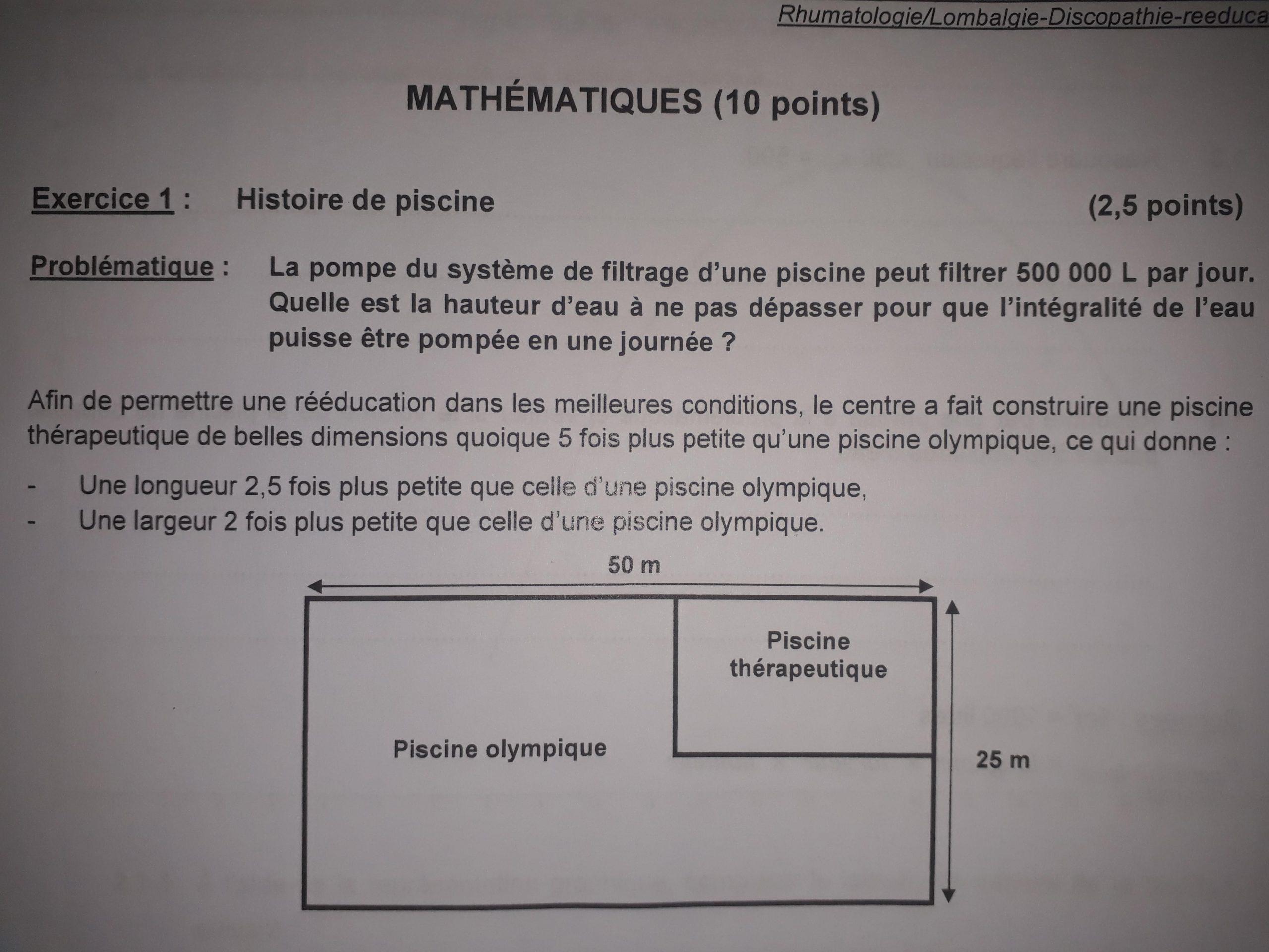Bonjour, Vous Pouvez M'aider Svp - Nosdevoirs.fr avec Dimension Piscine Olympique