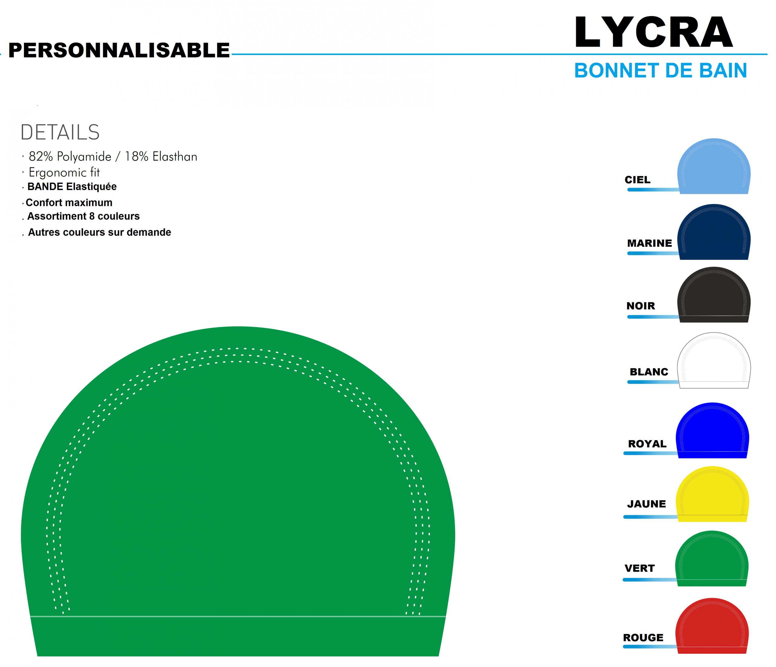 Bonnet De Bain Lycra Personnalisable pour Bonnet De Bain Piscine
