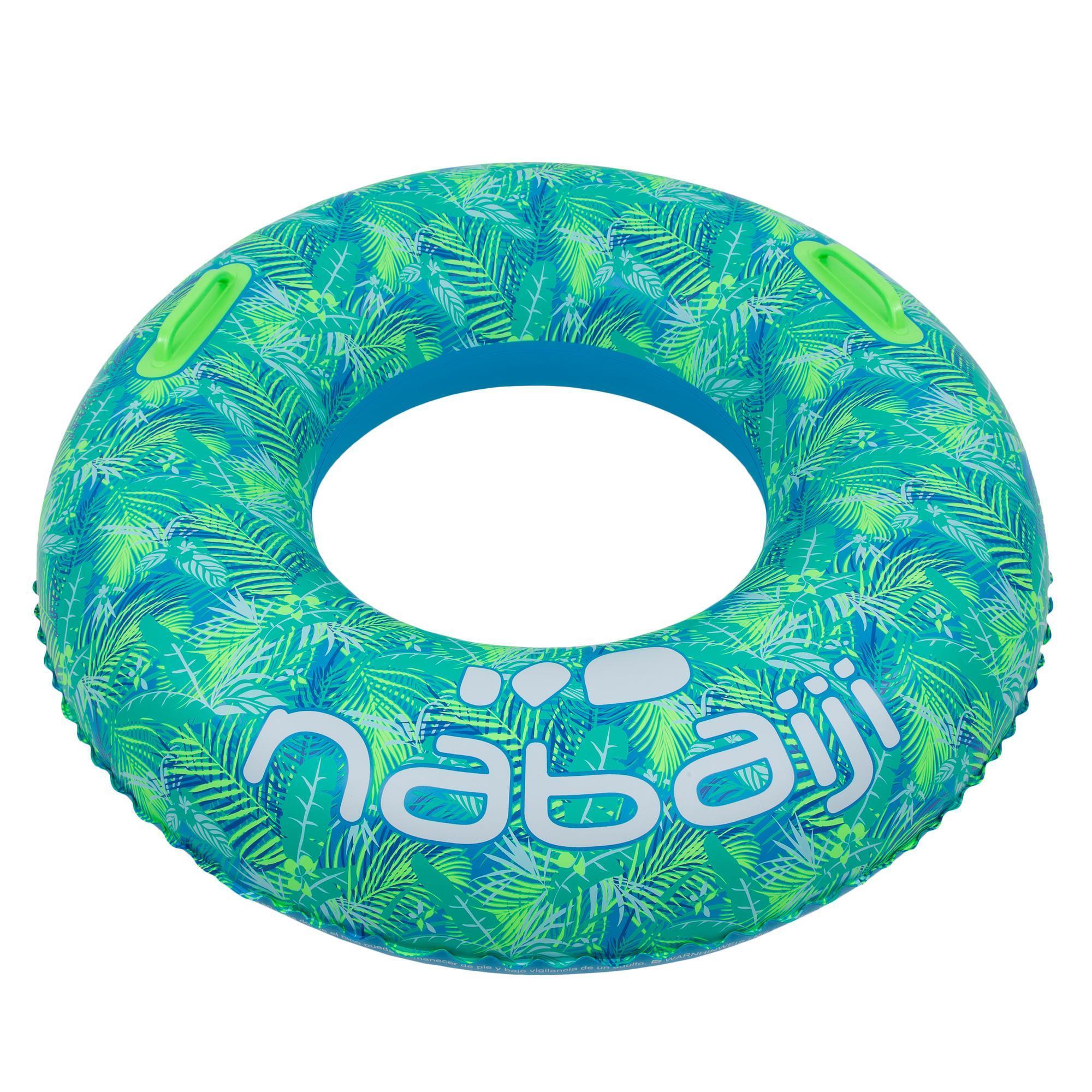 """Bouée Gonflable Bleue """"all Tropi"""" Grande Taille 92 Cm Avec Poignées Confort destiné Matelas Gonflable Piscine Decathlon"""