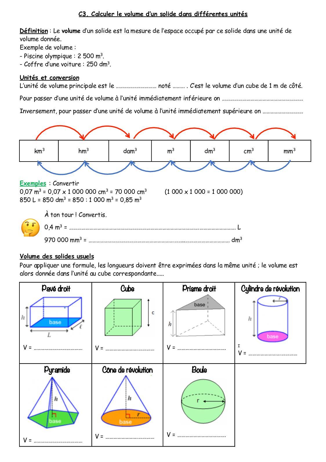 Calaméo - Cours C3 encequiconcerne Calcul M3 Piscine
