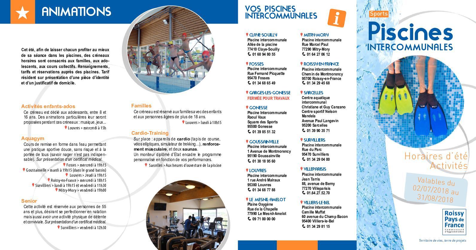 Calaméo - Horaires Été Piscines 2018 concernant Piscine De Goussainville