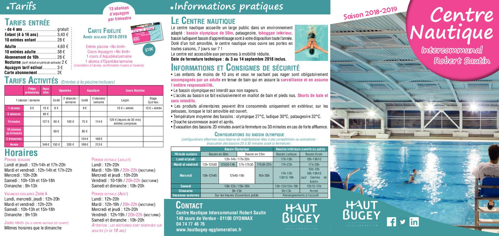 Calaméo - Plaquette Piscine 2018 2019 à Piscine Oyonnax