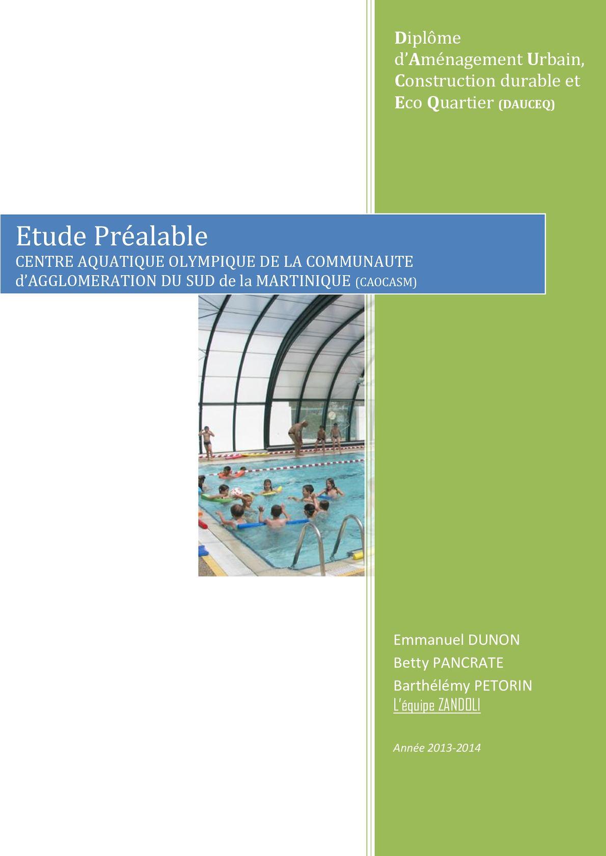Calaméo - Rapport - Etude Préalable Projet De Centre ... dedans Dimension Piscine Olympique