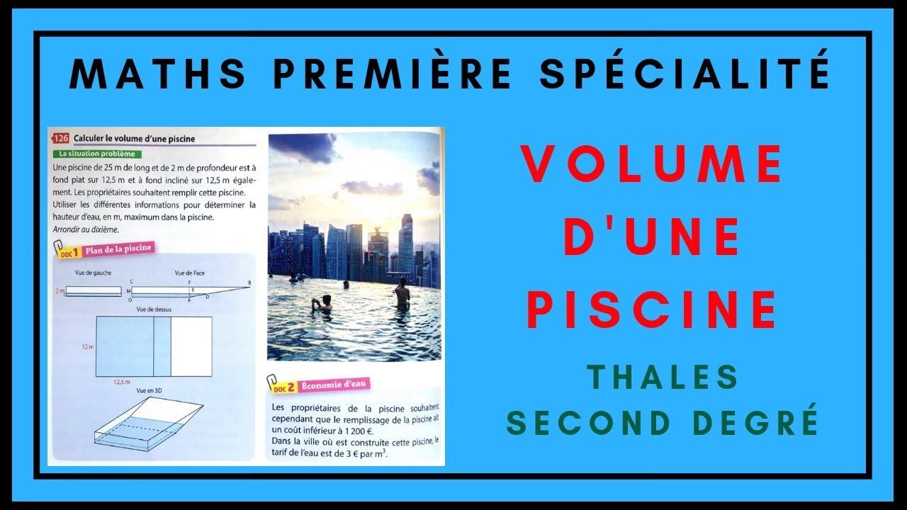 Calculer Le Volume D'Une Piscine- Première Maths Spécialité pour Calcul M3 Piscine