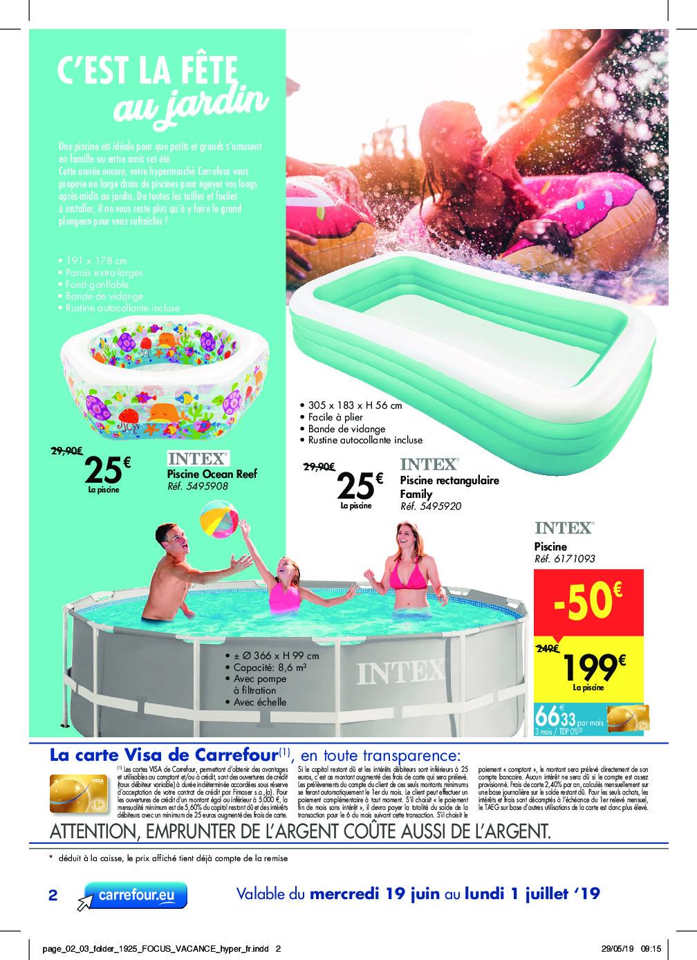 Carrefour – Dépliant Du 19.06.2019 Au 01.07.2019 – Page 2 ... pour Piscine Intex Carrefour