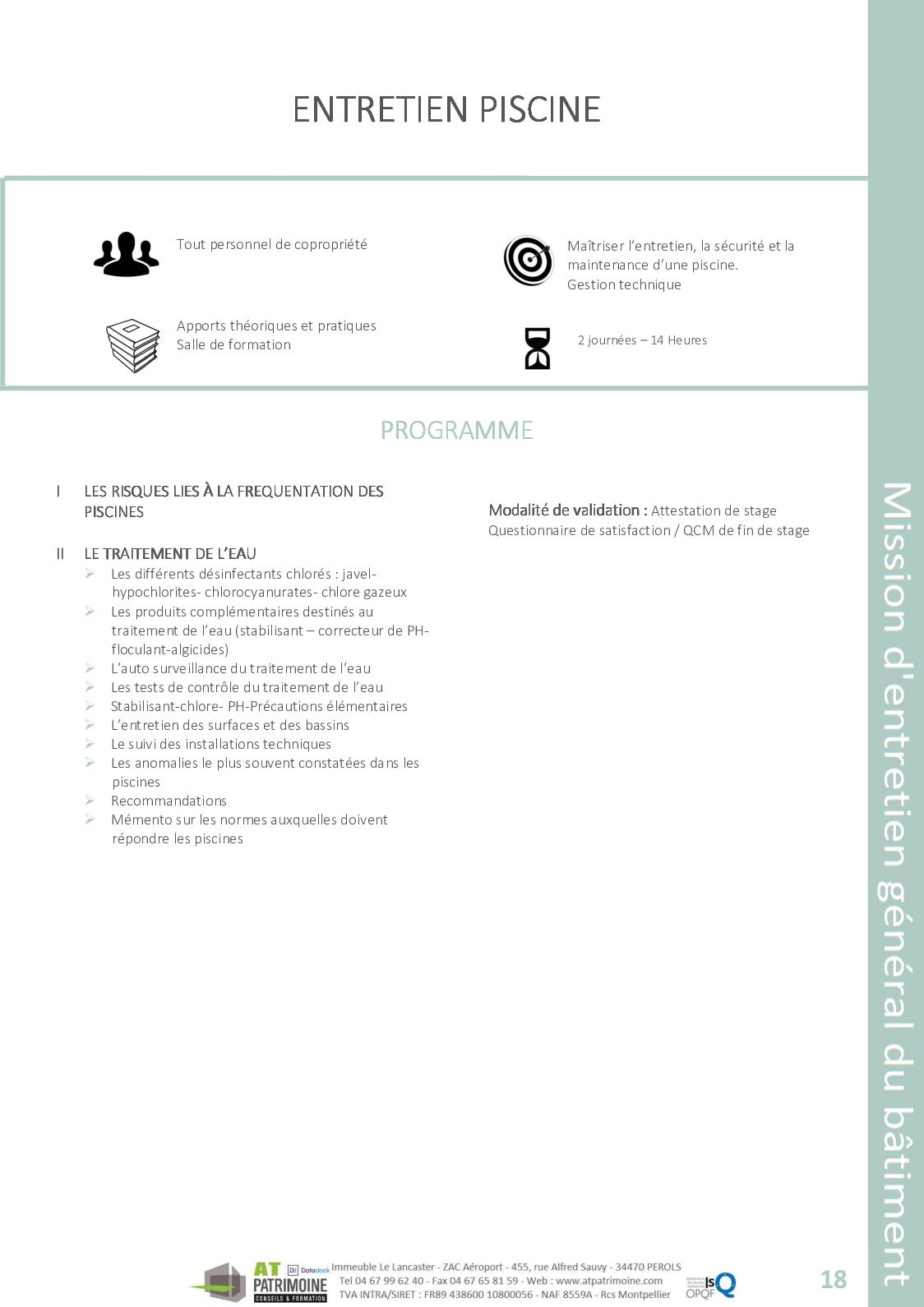 Catalogue Des Formations At Patrimoine 2018 - Calameo Downloader avec Formation Pisciniste