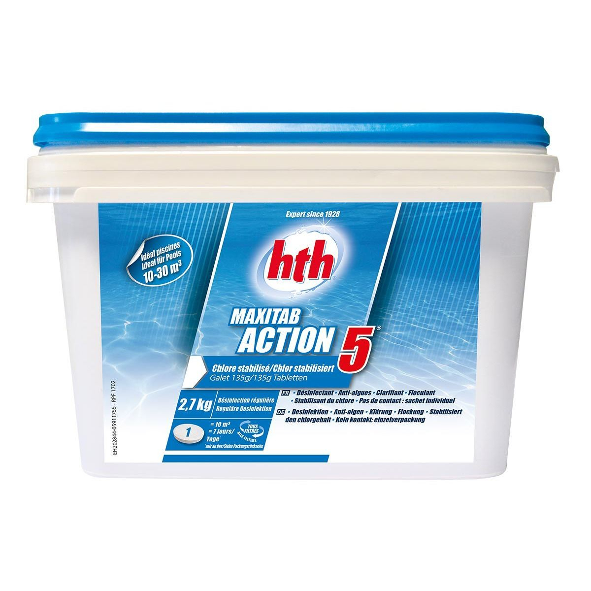 Chlore 5 Actions Maxitab Galets 135 G 2,7 Kg - Hth - Taille ... tout Clarifiant Piscine