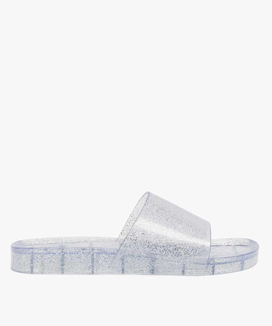 Claquettes De Piscine Femme En Plastique Paillete Brun Nu-Pieds Et Sandales  Plates destiné Sandales De Piscine