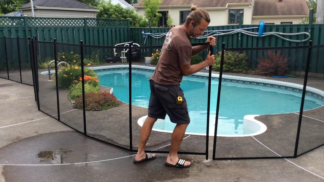Clôtures Amovibles Poolguard: Enlever Et Remettre Une Section concernant Barriere Piscine Amovible