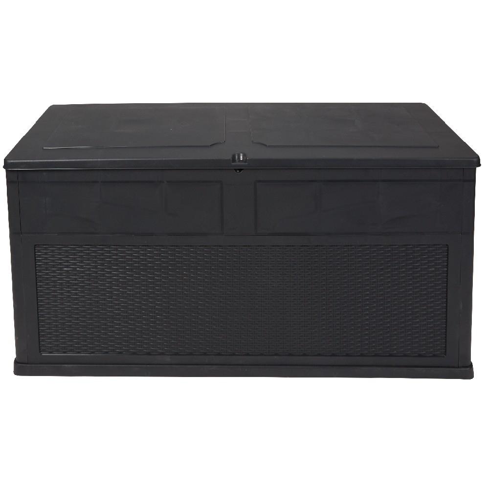 Coffre 320 L Noir avec Tapis De Sol Piscine Gifi
