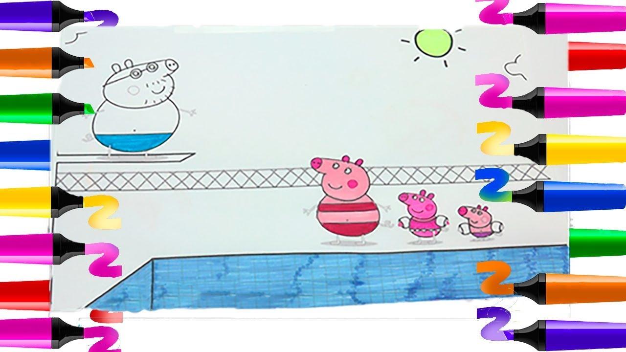 Coloriage Peppa Pig | Coloriage Papa Pig À La Piscine ... serapportantà Peppa Pig A La Piscine