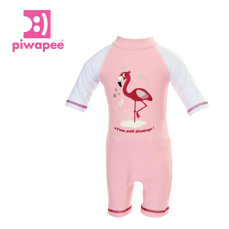 """Combinaison Anti - Uv Upf50+ Avec Couche Clipsable """" Swim+® """" Intégrée ~  Flamingo destiné Combinaison Piscine Bébé"""
