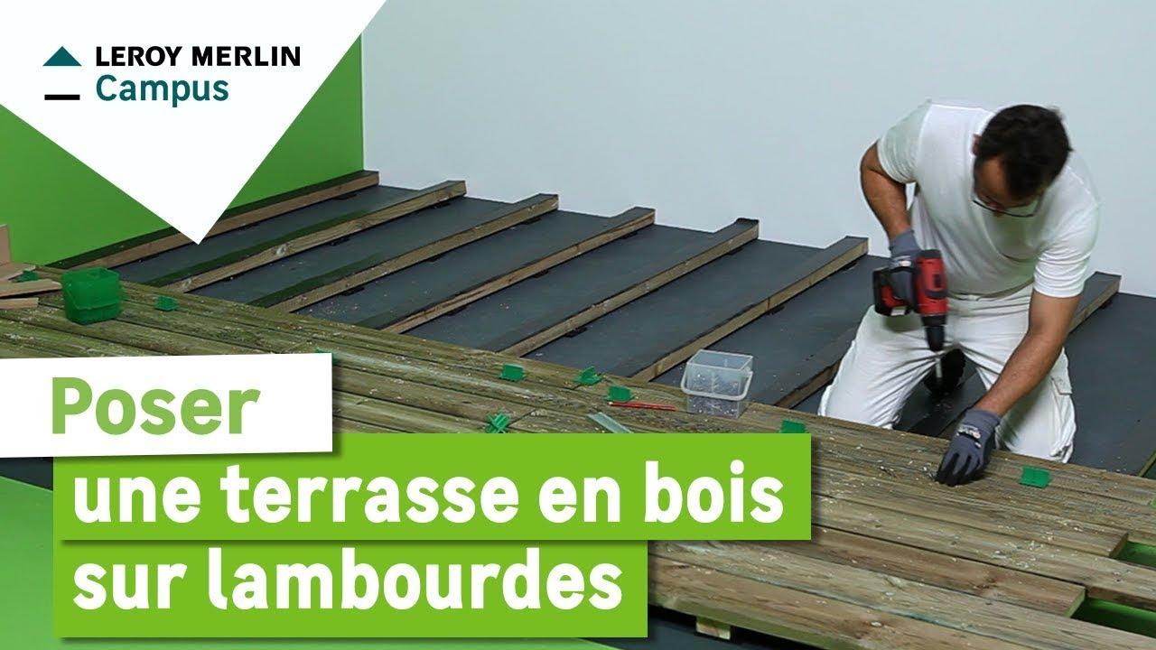 Comment Poser Une Terrasse En Bois Sur Lambourdes ? Leroy Merlin destiné Piscine En Bois Leroy Merlin