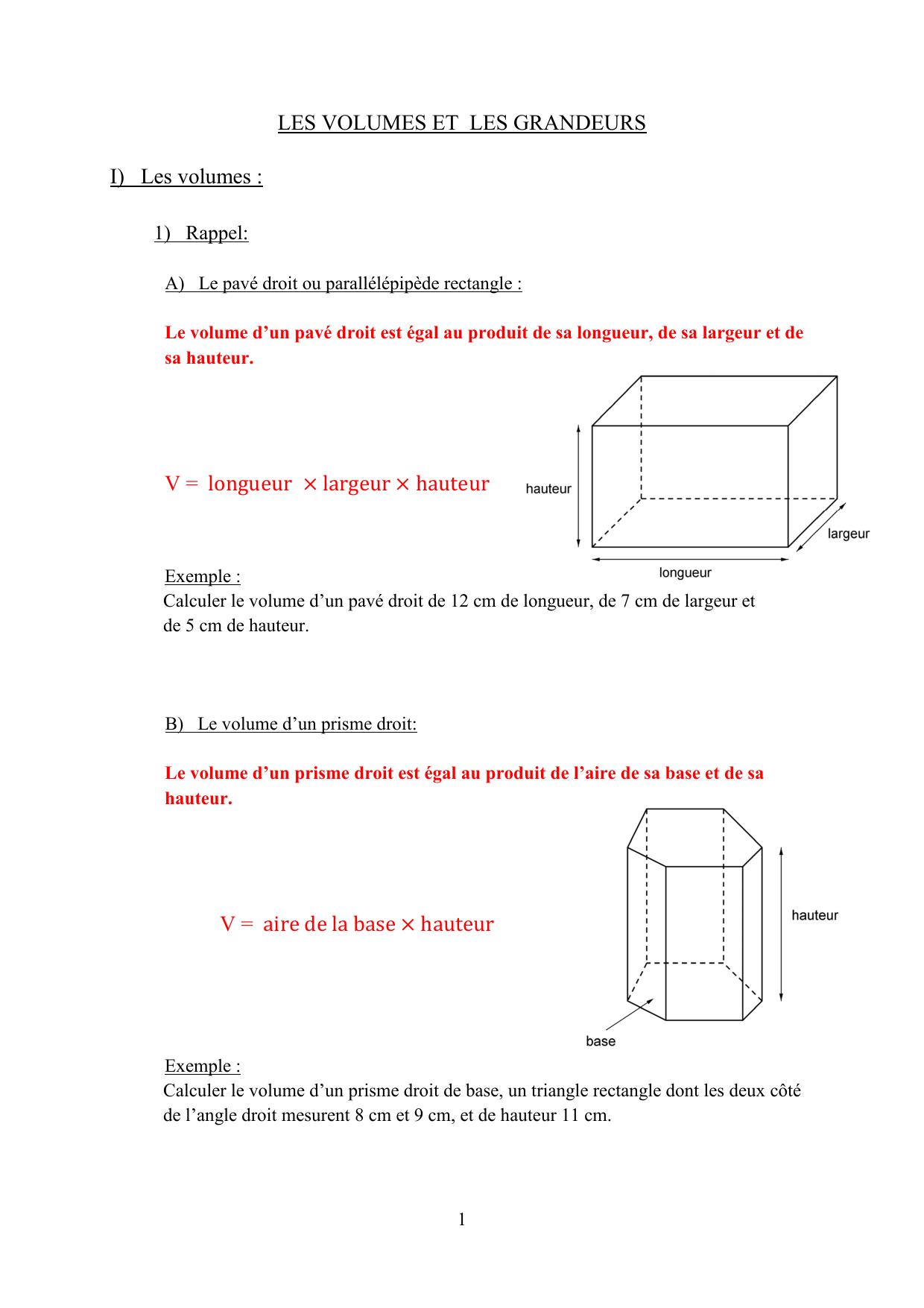 Cours Les Volumes Et Les Grandeurs encequiconcerne Calcul M3 Piscine