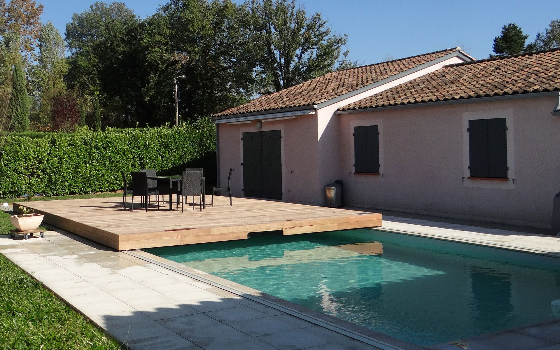 Couverture #piscine #coulissant Terrasse Coulissante Pour ... destiné Piscine 4X2