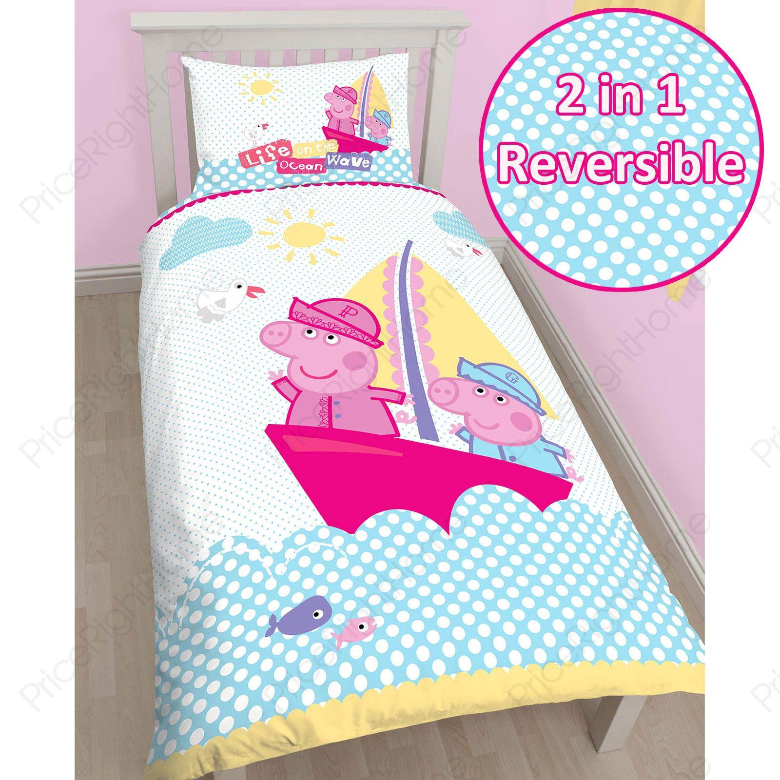 Details About Peppa Pig & George 'nautical' Single Duvet Cover Set New encequiconcerne Peppa Pig À La Piscine