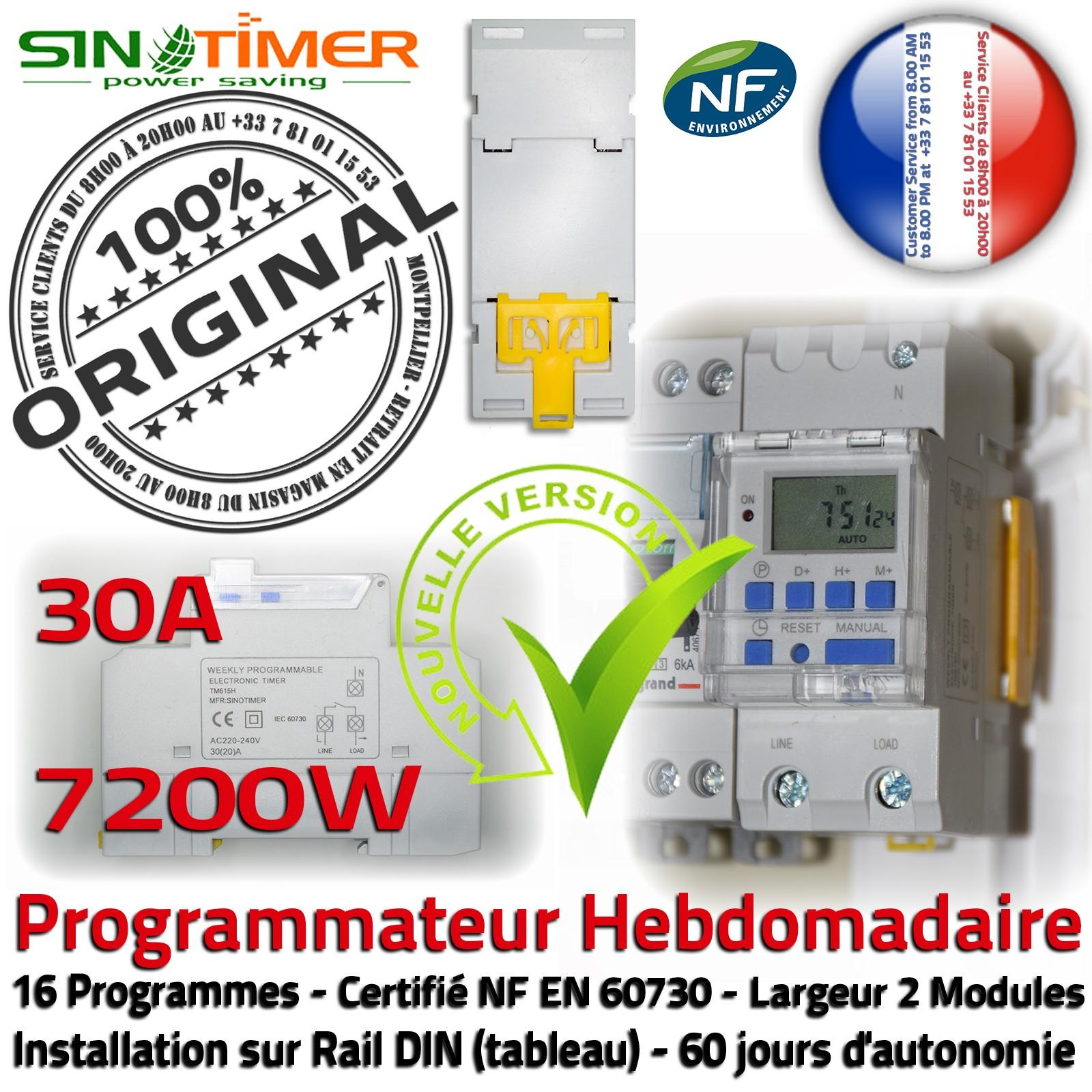 Détails Sur Contacteur Jour-Nuit Heures Creuses Pompe Piscine Rail Din 30A  7Kw 16 Programmes avec Programmateur Piscine
