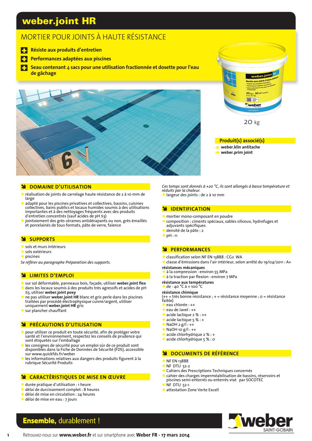 Fiche_Imprimable_Weber_Joint_Hr By Bigmatfrance - Issuu pour Acide Chlorhydrique Piscine