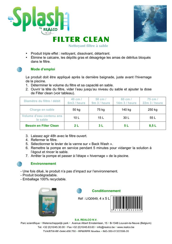 Filter Clean - Découvrez Splash, La Gamme Piscine De Realco. encequiconcerne Filtre A Sable Piscine Mode D Emploi