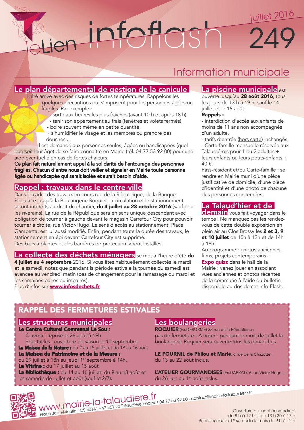 -Flash N°249, Juillet-Août By Mairie De La Talaudière ... dedans Piscine La Talaudiere