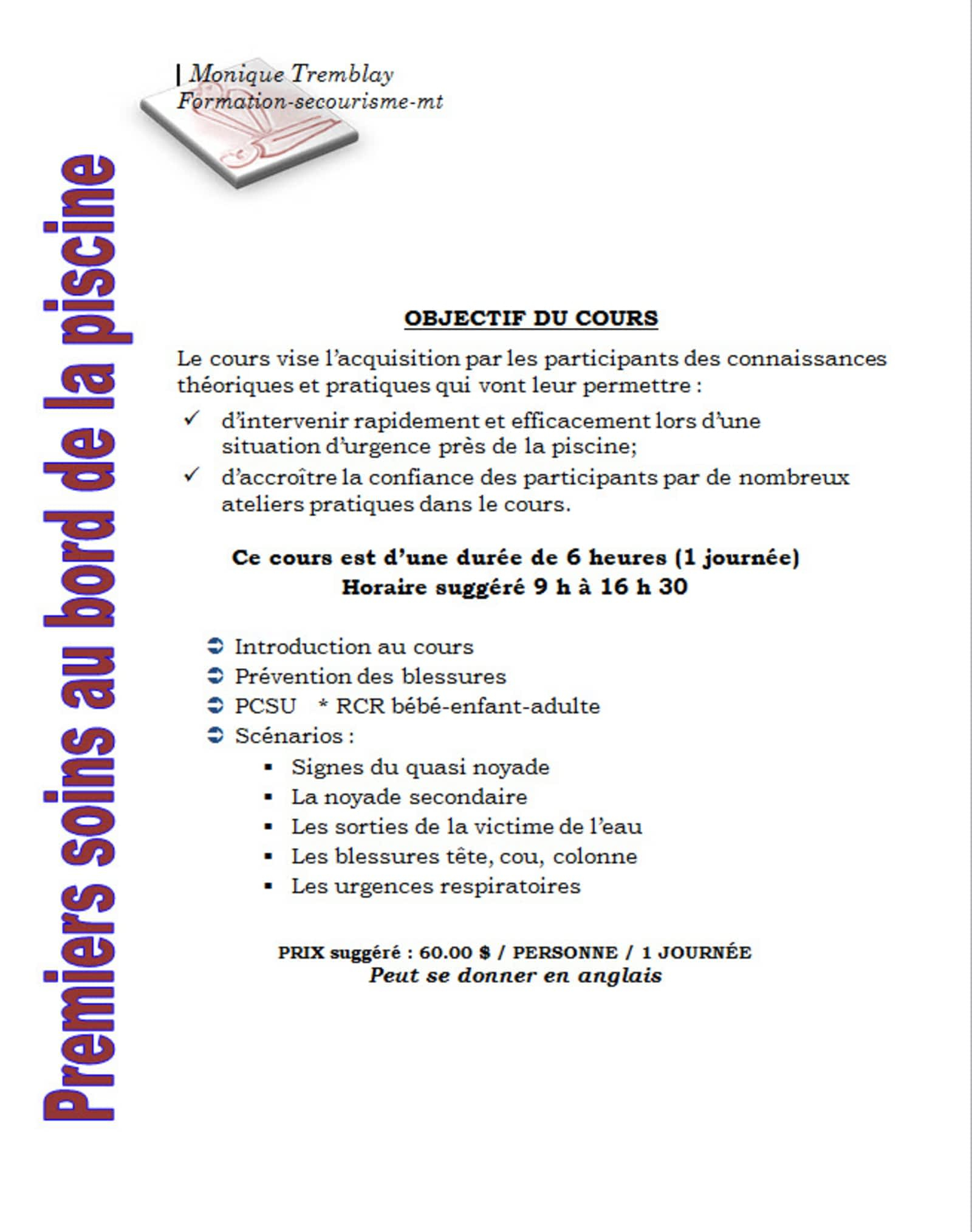Formation-Secourisme Mt - Opening Hours - 324, Rue Gascon ... à Formation Pisciniste
